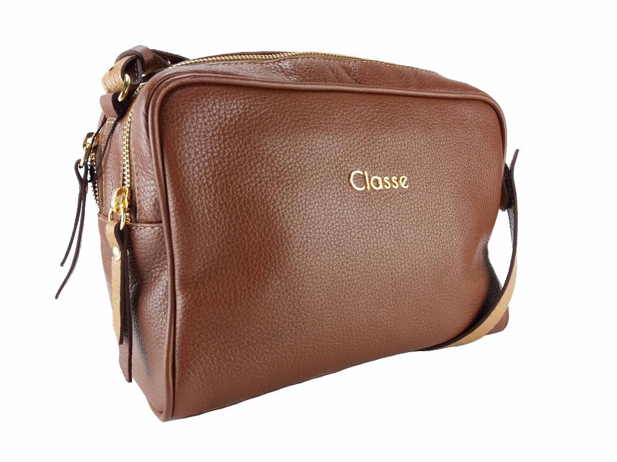 b01b51d5d Bolsa Feminina Transversal Marrom Classe Couro 100632 - R$ 289,90 em ...