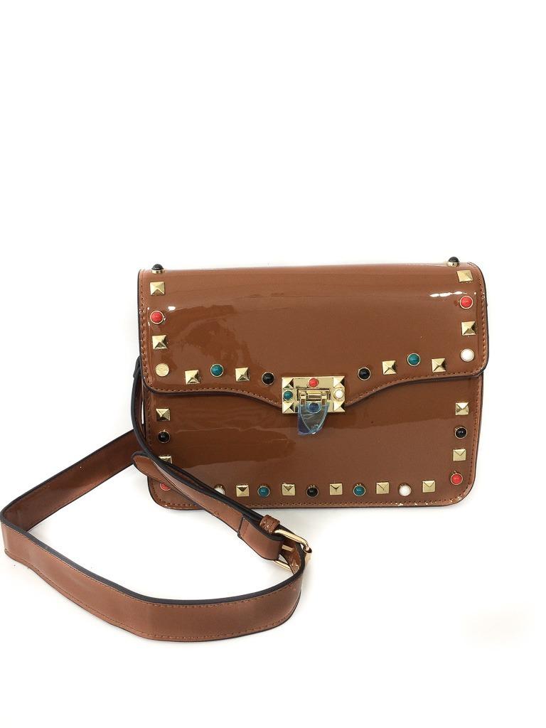 04c261555 bolsa de lado feminina verniz caramelo pedraria colorida. Carregando zoom...  bolsa feminina verniz. Carregando zoom.