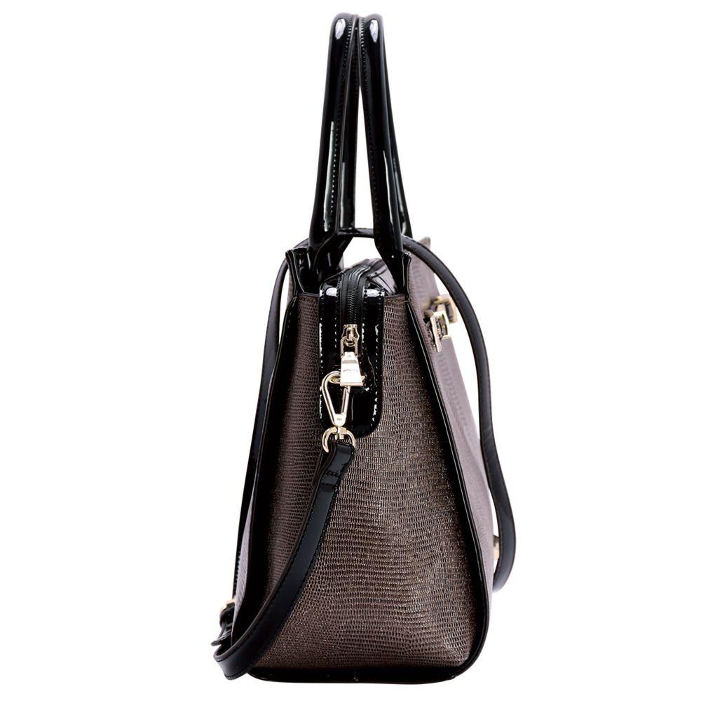 f05d9a5eb Bolsa Feminina Mão Detalhes Em Verniz Chenson 81154 Marrom - R$ 279 ...