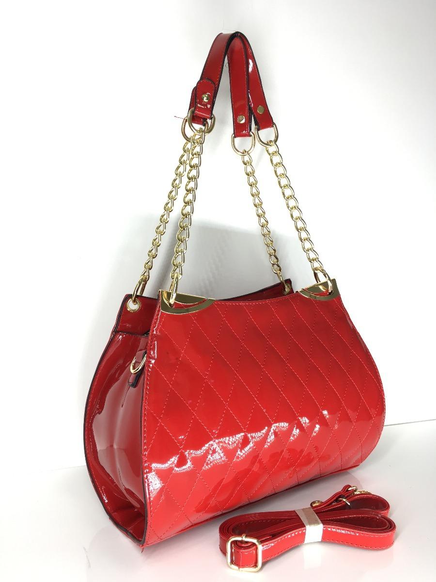 9ce367120 bolsa feminina vernizada tiracolo transversal alça corrente. Carregando zoom .