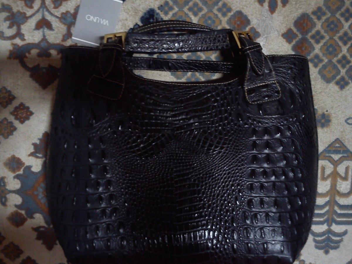 Bolsa Feminina De Couro Via Uno : Bolsa gigante em couro leg?timo croco tom preto via