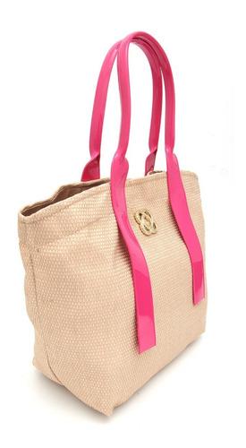 bolsa grande de praia petite jolie tipo palha pj4589 pink