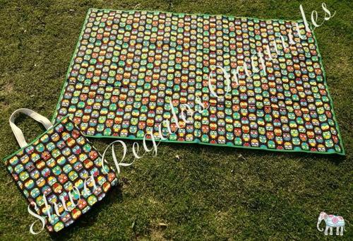 bolsa grande estampada y lona playa plaza picnic  1.5x1m