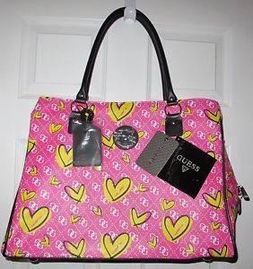 bolsa grande feminina guess couro rosa e corações