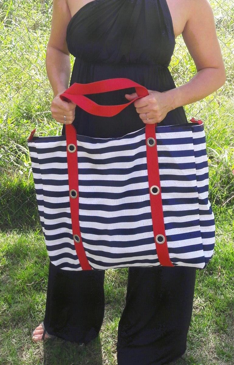 6c8827461 bolsa grande listrada tecido azul marinho branco vermelho. Carregando zoom.