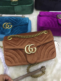 58fc4d8e2 Bolsa Gucci Gg Marmont Veludo - Bolsas de Couro Marrom no Mercado ...
