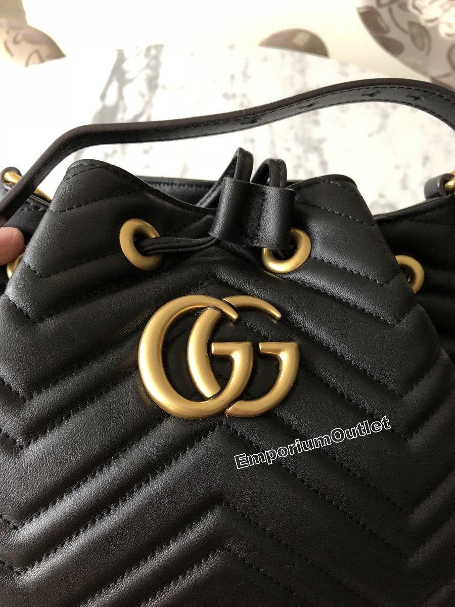 ee3357a14 bolsa gucci orginal gg marmont saco quilted leather bucket. Carregando zoom.