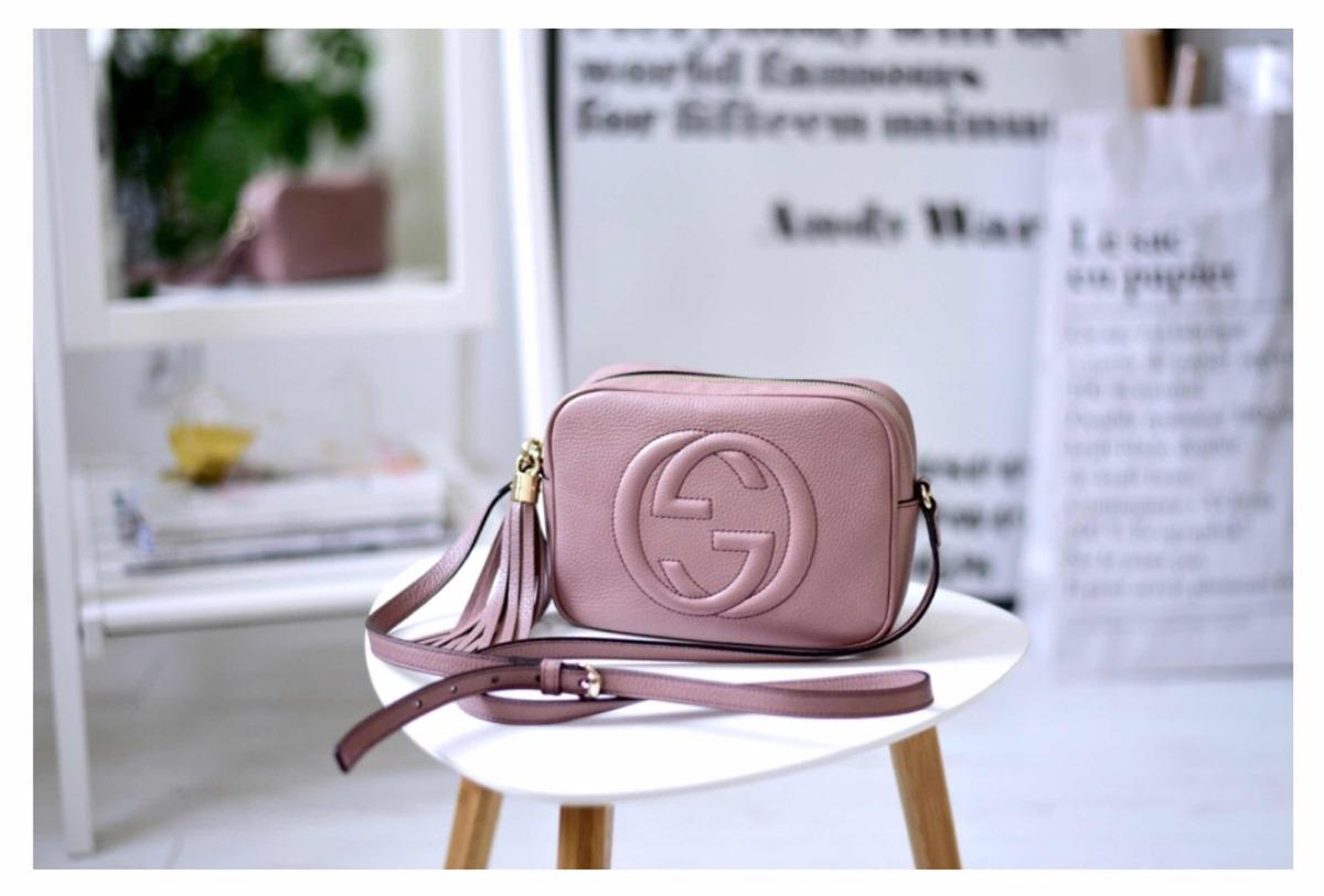 ef29956d9 bolsa gucci soho disco rosa bege couro original e bolso inte. Carregando  zoom.