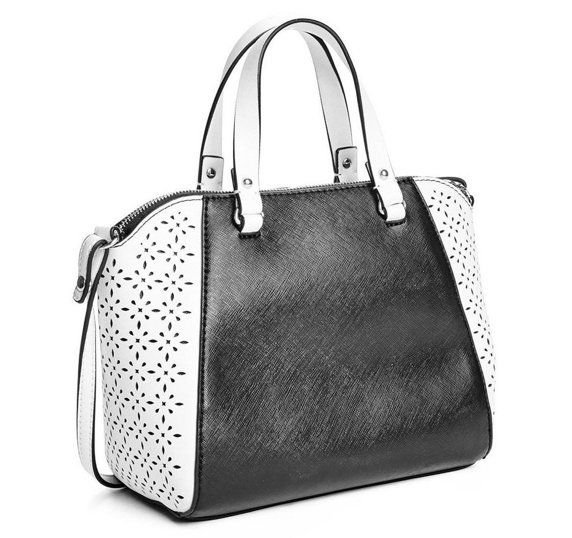 2fee6ebcd bolsa guess satchel preta e branca import. original promoção. Carregando  zoom.