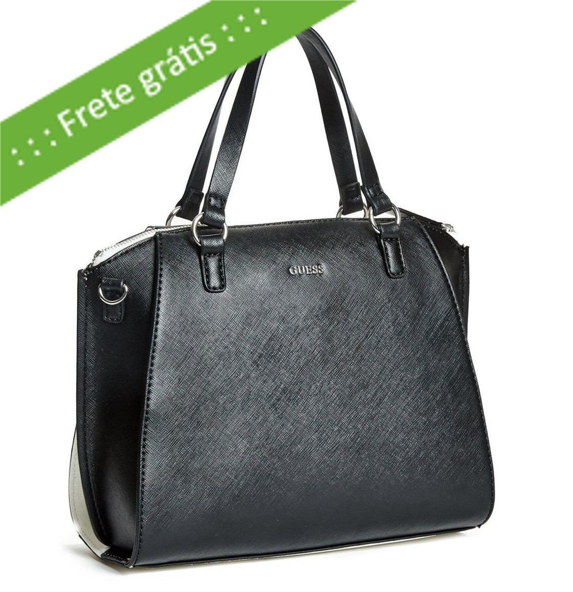 4703ad743 bolsa guess satchel preta/branca importada original promoção. Carregando  zoom.