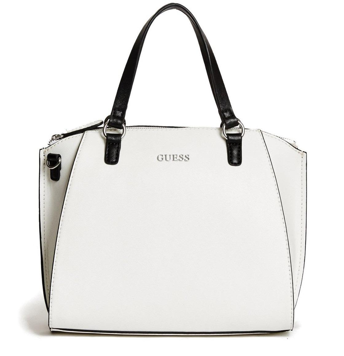 dd8a7af72 bolsa guess satchel preta/branca importada original promoção. Carregando  zoom.