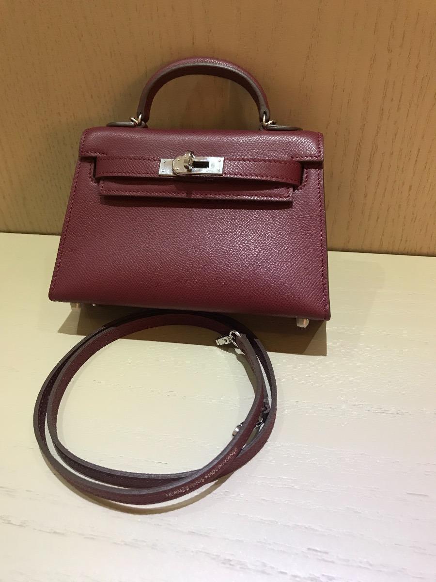 2a0bead3fc4 Bolsa Hermes Kelly Mini 20cm Bordo 100% Couro Original - R  1.900