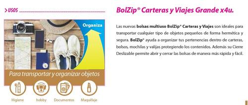 bolsa hermética organizadora de cartera y viaje bolzip 8un.