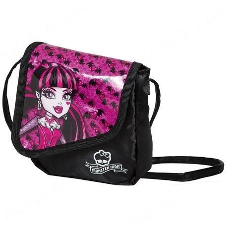 549c6d81e Bolsa Infantil Preta Monster High Draculaur Bolsinha Criança - R$ 14 ...