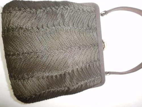 bolsa italiana de noche de seda-cafe oscuro forrada seda