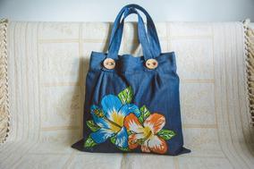 a088e0eae Bolsa Pano Jeans Bordada Flores - Bolsas Femininas no Mercado Livre ...