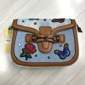 82b6d5175 Bolsa Jeans Com Alça Colorida Bordado Flor Borboleta - R$ 120,00 em ...