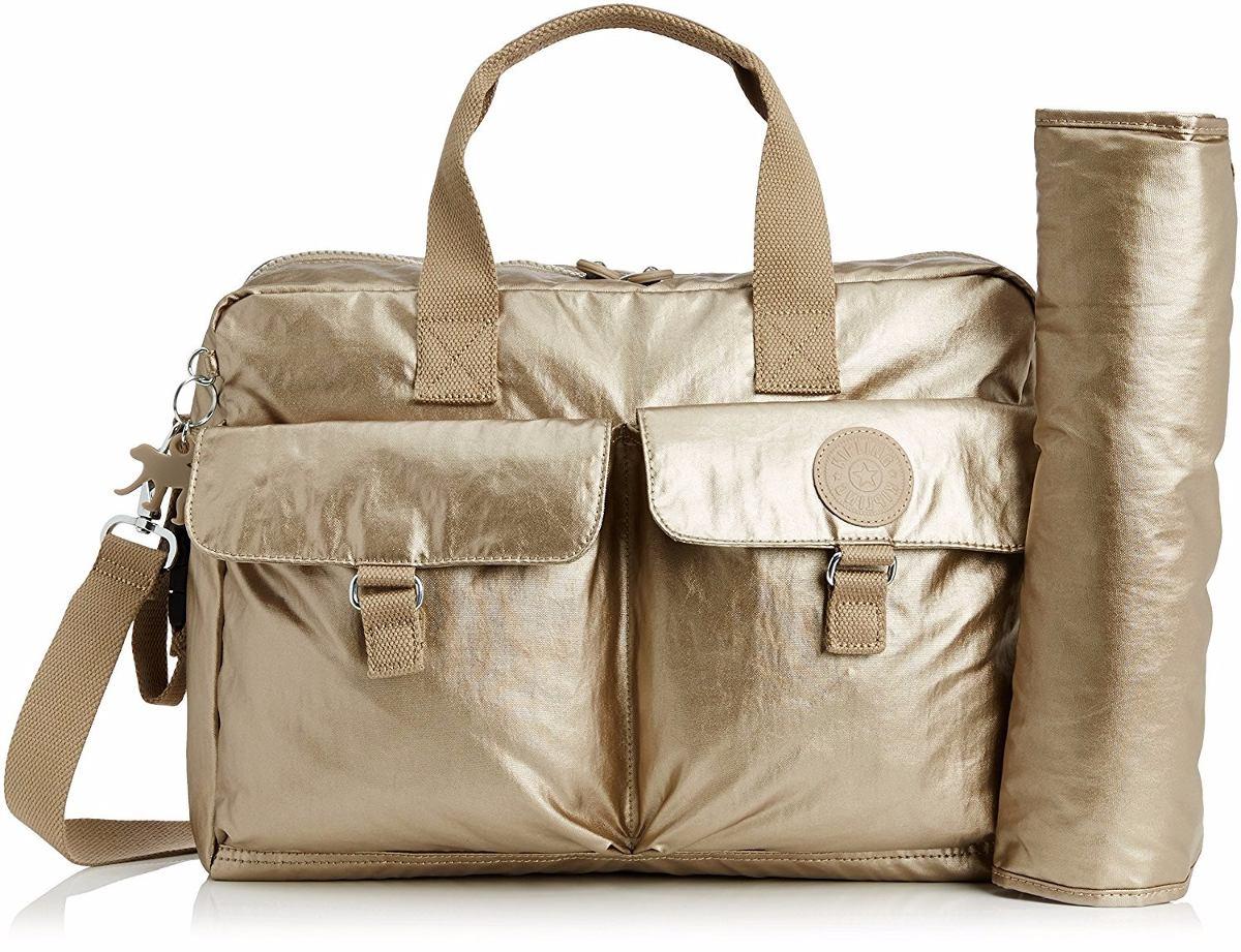 Bolsa Dourada Da Kipling : Bolsa kipling maternidade metalizada new baby l dourada