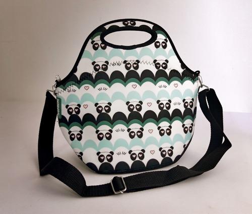 bolsa lancheira térmica em neoprene isoprene amor de panda