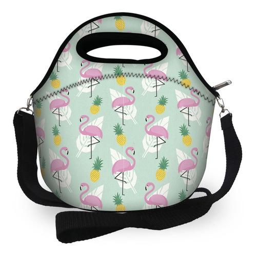 bolsa lancheira térmica neoprene flamingos verão isoprene