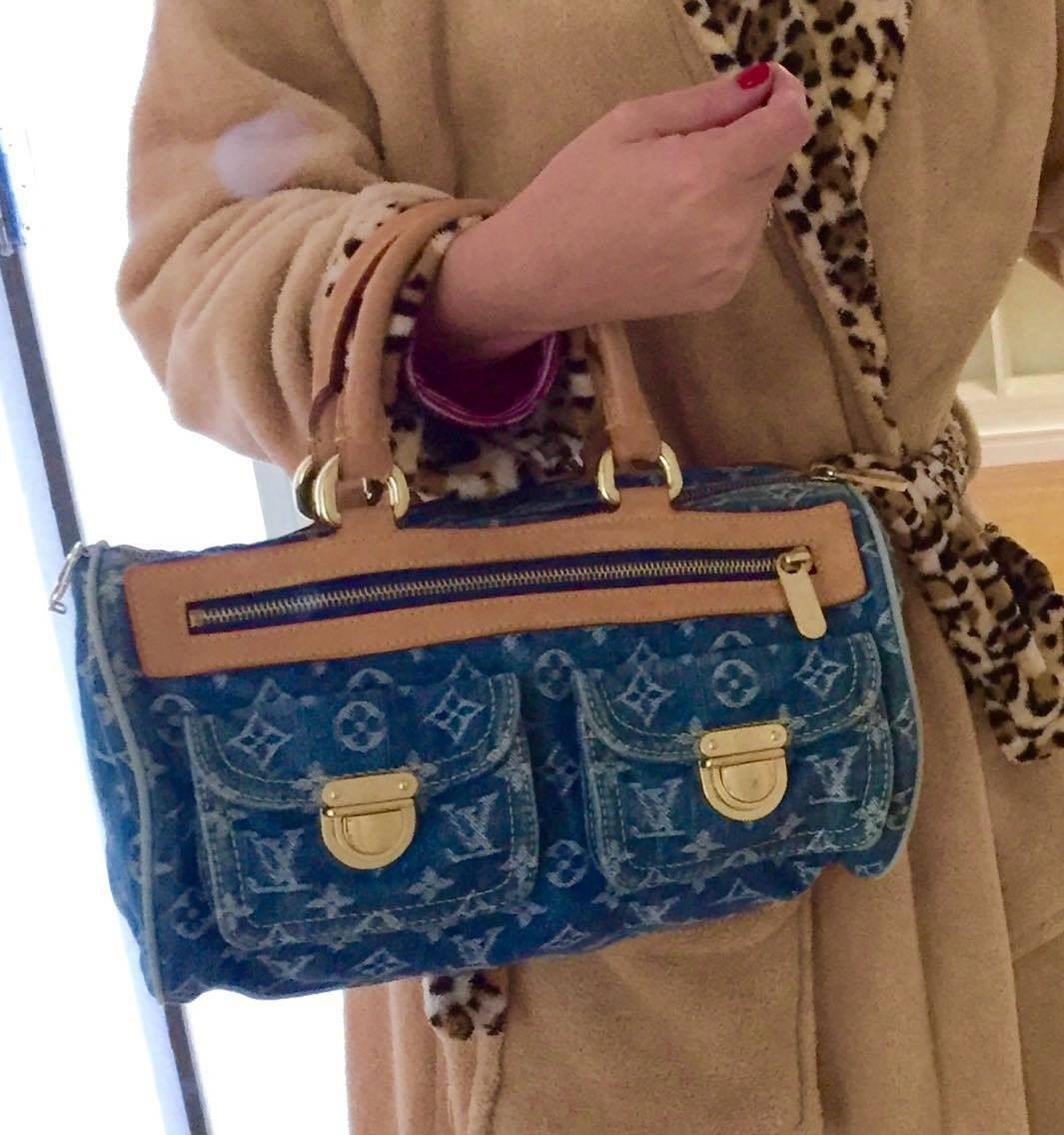 7599f423a bolsa louis vuitton speedy 30 blue denim original - vídeo!! Carregando zoom.