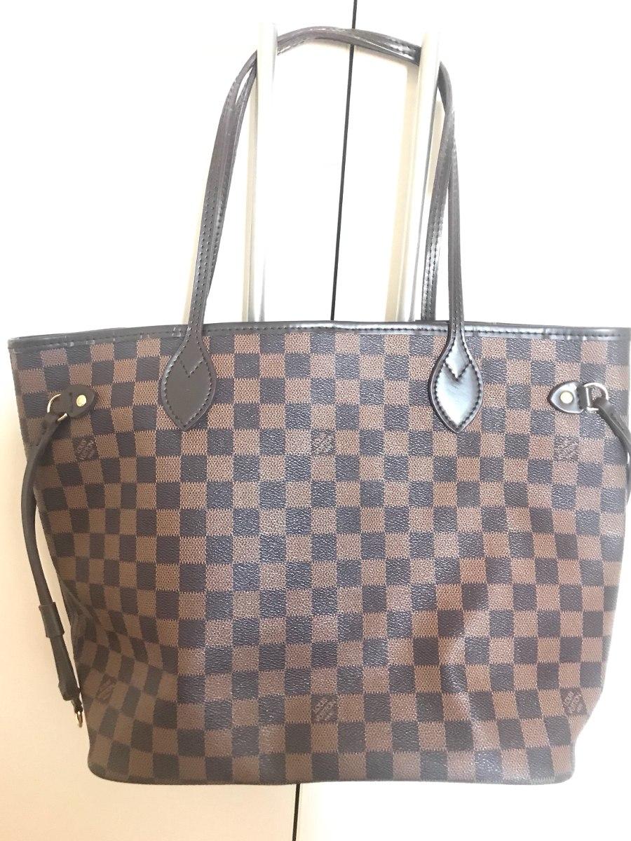 c0dbb7282fa bolsa louis vuitton usada xadrez marrom ombro. Carregando zoom.