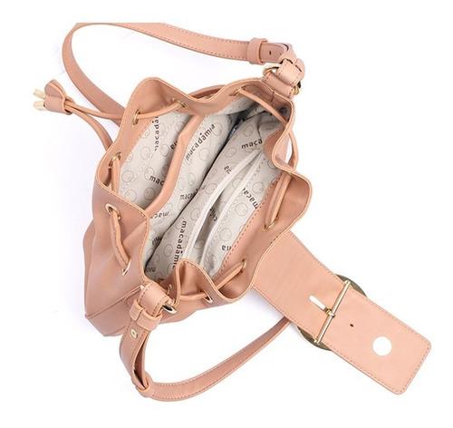 bolsa macadâmia saco c/ fivela feminina fashion estilosa