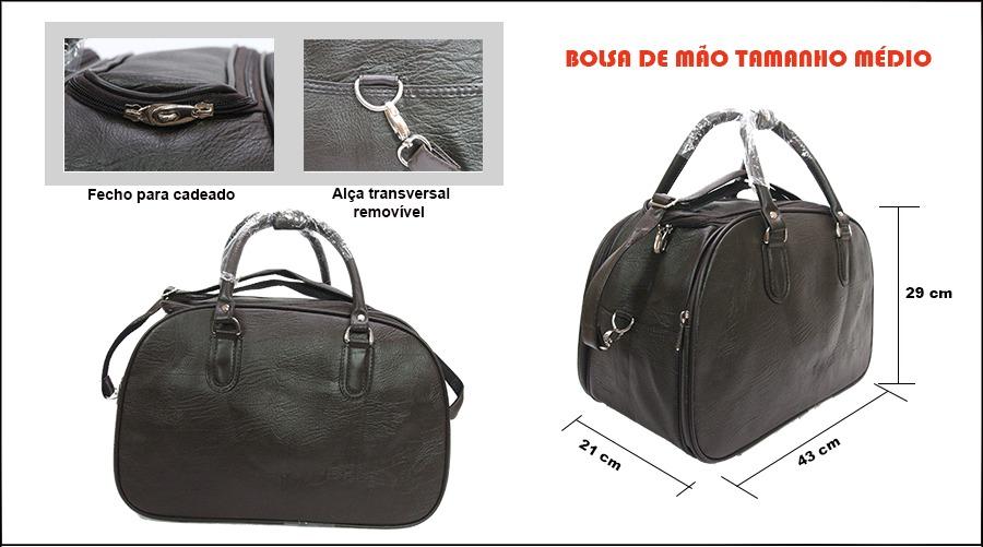 Bolsa De Mao Para Viagem Feminina : Bolsa mala de m?o para viagem tamanho m?dio cor marrom