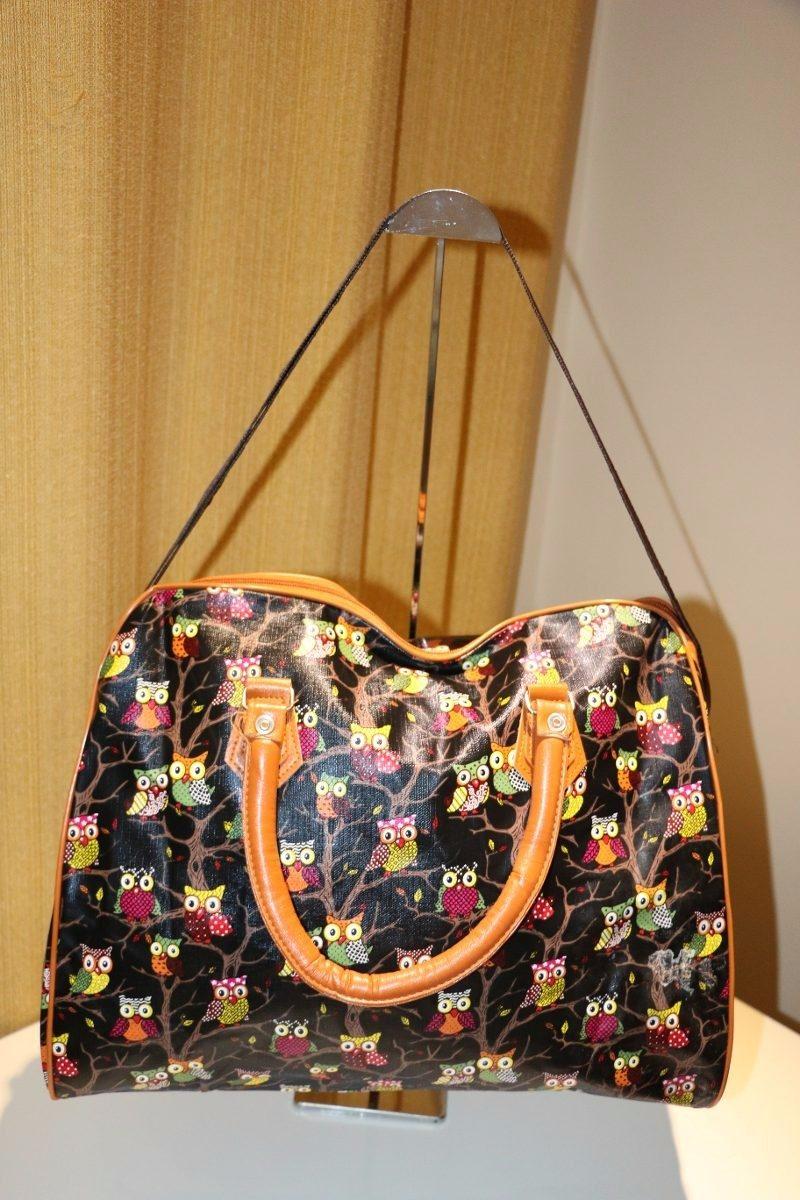 Bolsa De Viagem De Mão Feminina : Bolsa mala feminina de m?o viagem estampada e coruja