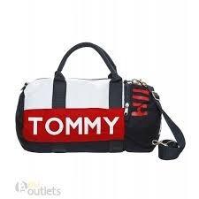 23e7a5239 Bolsa Tommy Hilfiger Listrada Cor Rosa E Azul - Bolsas Masculinas no ...