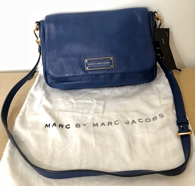 best sneakers d67ee fd736 Bolsa Marc Jacobs Em Couro Azul Original Comprada Na Italia