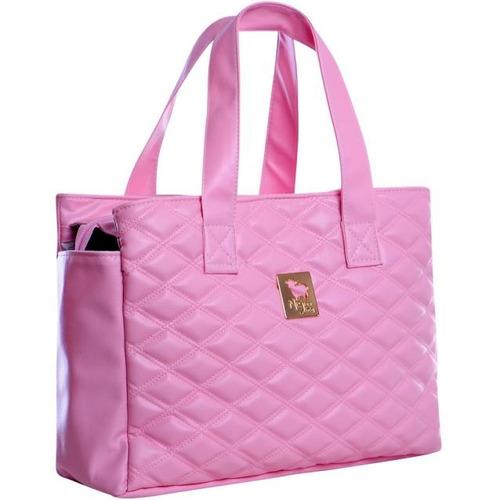 bolsa maternidade prática matelassê rosa majov