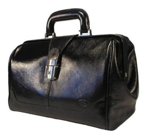bolsa médica couro bennesh 9212 maleta preto italiano