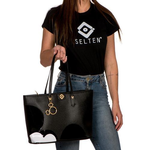 bolsa mickey grande sacola de ombro com chaveiro linda g
