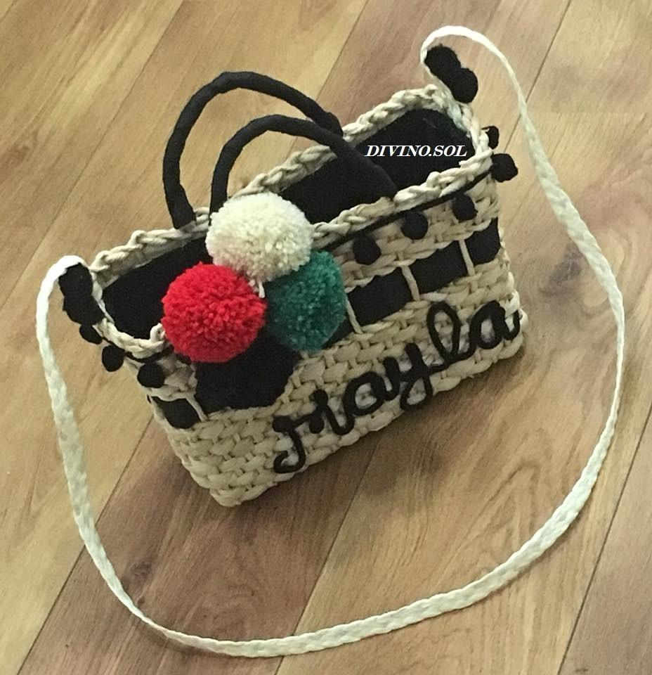24125cdeae Bolsa Mini Bag Sacola Praia De Palha Personalizada Com Forro - R ...