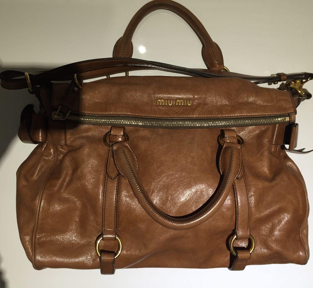 4360d8fd4e3f5 Bolsa Miumiu Couro Marrom Original - R  3.200,00 em Mercado Livre