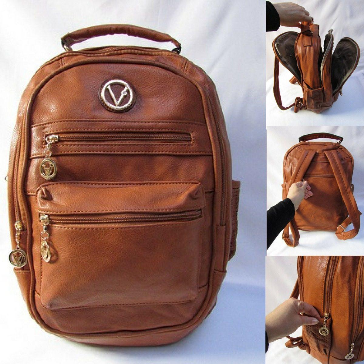 b5e5b5db48a bolsa mochila couro ecológico super macio faculdade viajem. Carregando zoom.