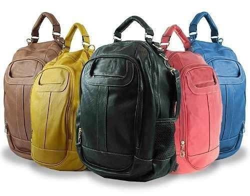 bolsa mochila couro sintético nova frete gratis
