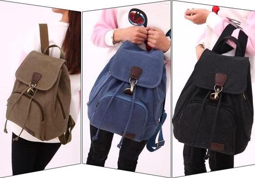 bolsa mochila de lona feminina passeio escolar c790
