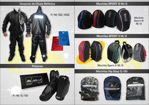 bolsa mochila de lona moto boy parafinada ggg max racing