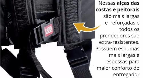 bolsa mochila de motoboy pizza lanches 2 divisórias 53cm bp
