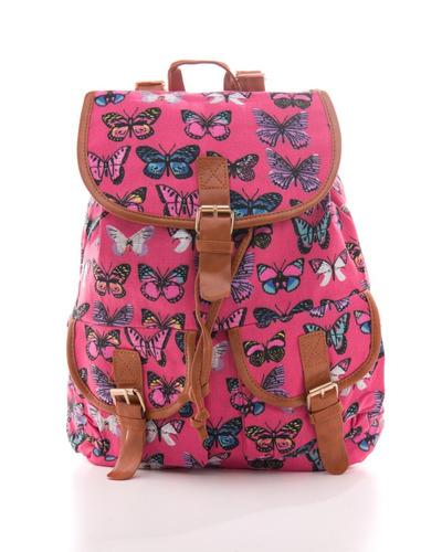 bolsa mochila escolar floreal borboleta média feminina p7