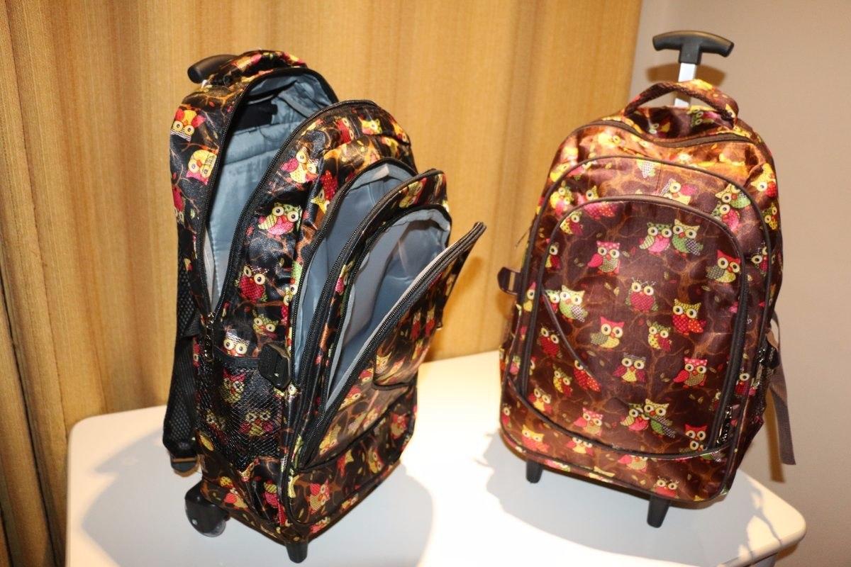 Bolsa Escolar Infantil Feminina Mercado Livre : Bolsa mochila feminina com rodinhas coruja refor?ada r
