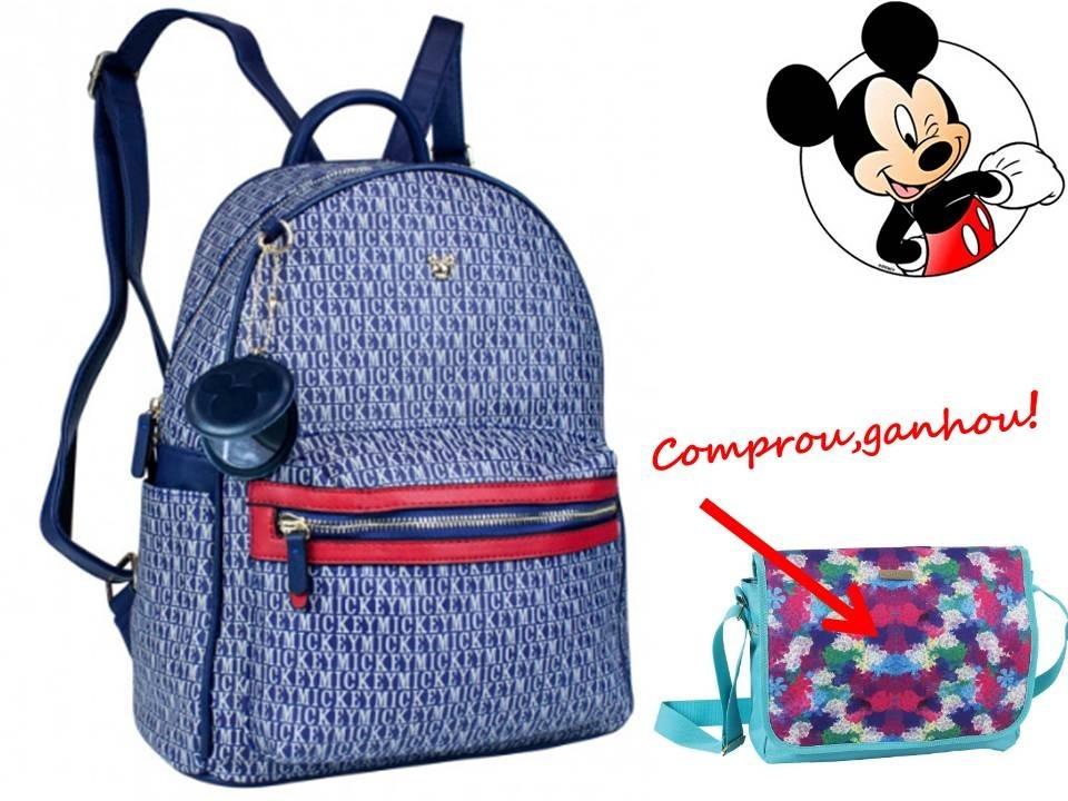 4dd4a3daf Bolsa Mochila Mickey Mouse Bmk78343 Azul + Brinde - R$ 249,90 em ...
