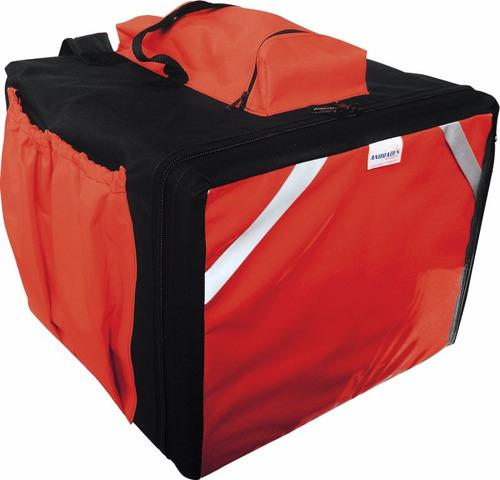 bolsa mochila p/ pizzas até 39cm em lona c/ isopor adaptado