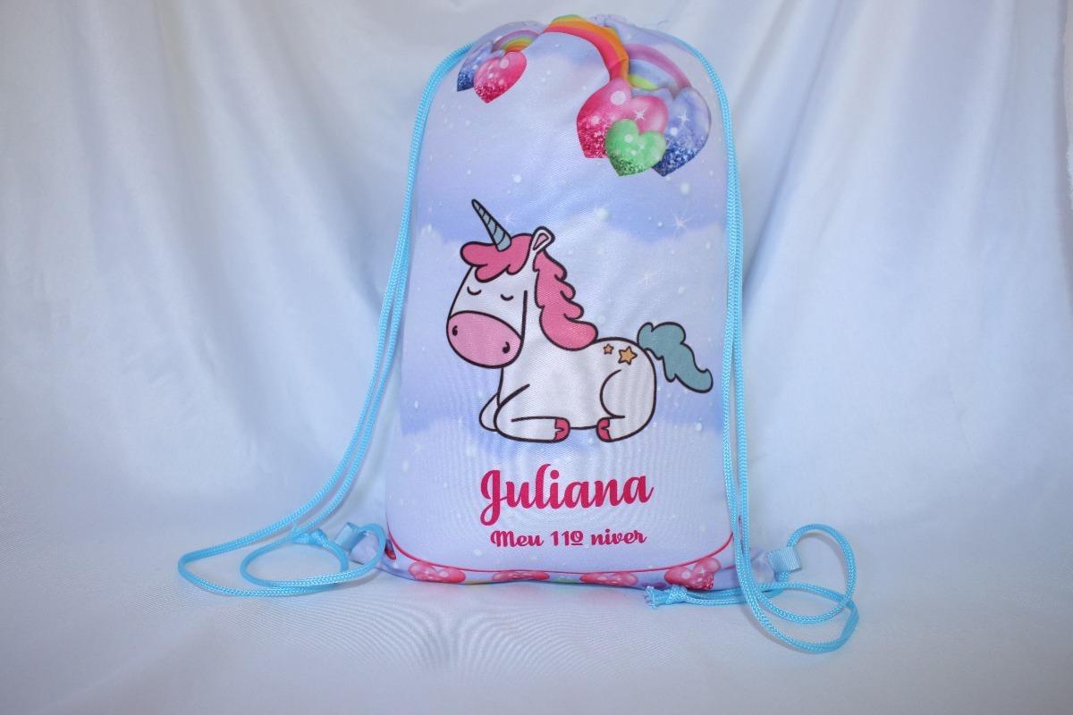 5efde0a70 bolsa / mochila saco personalizada unicornio 30cmx20cm. Carregando zoom.