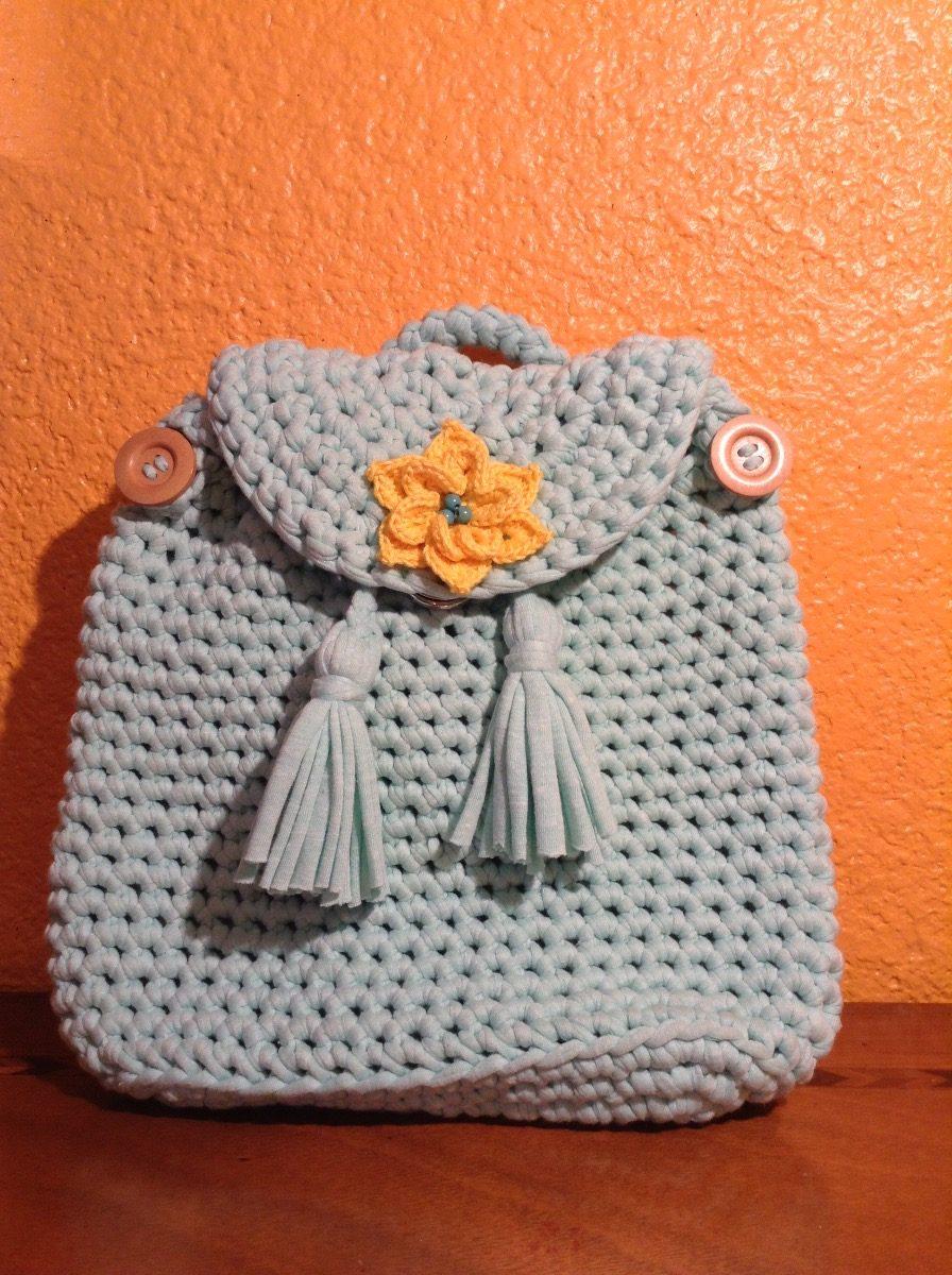 Bolsa / Mochila Tejida A Crochet - $ 550.00 en Mercado Libre