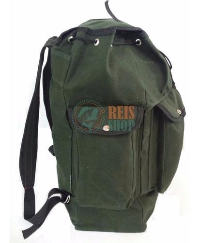 bolsa mochilão romeiro em lona reforçada - pesca acampamento