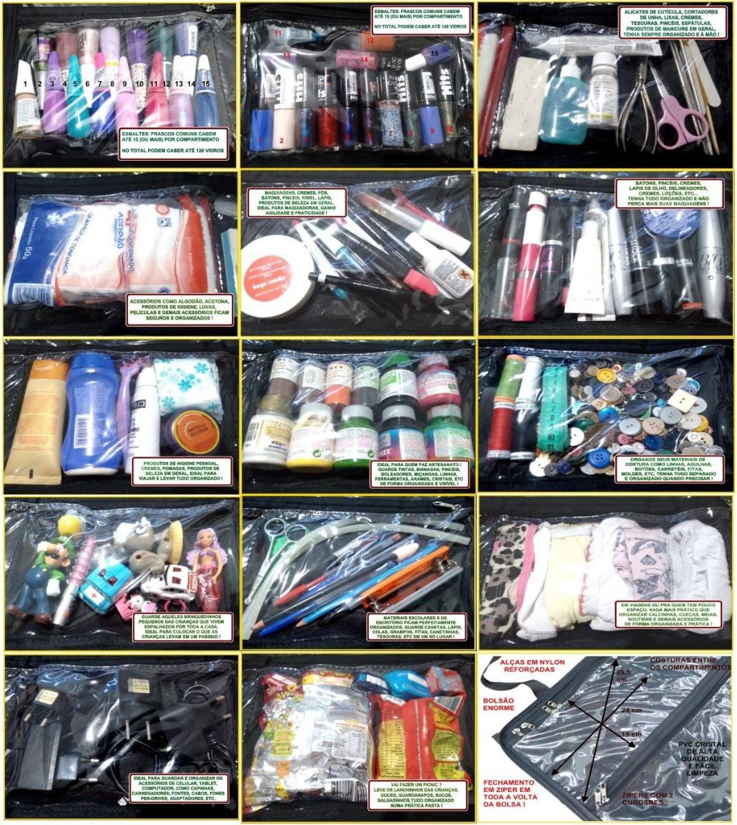 ac4c7419e4cff bolsa organizadora porta esmaltes até 120 frascos manicure p. Carregando  zoom.