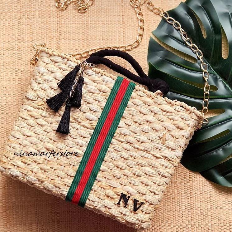 1b5980858 Bolsa De Palha Customizada Modelo Inspiração Gucci Correntes - R ...